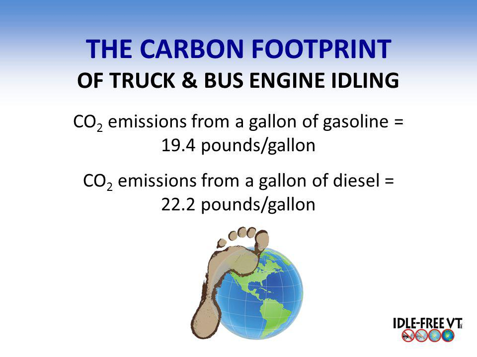 THE CARBON FOOTPRINT OF TRUCK & BUS ENGINE IDLING CO 2 emissions from a gallon of gasoline = 19.4 pounds/gallon CO 2 emissions from a gallon of diesel