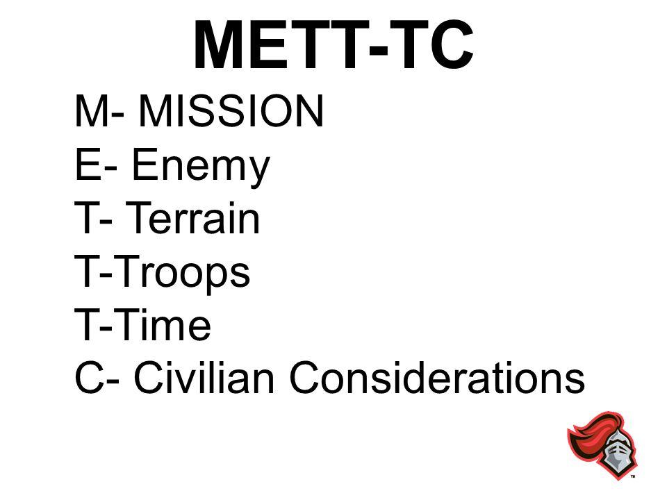 METT-TC M- MISSION E- Enemy T- Terrain T-Troops T-Time C- Civilian Considerations