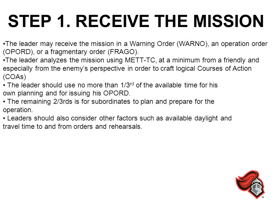 STEP 2.ISSUE A WARNING ORDER The leader provides initial instructions in a Warning Order.
