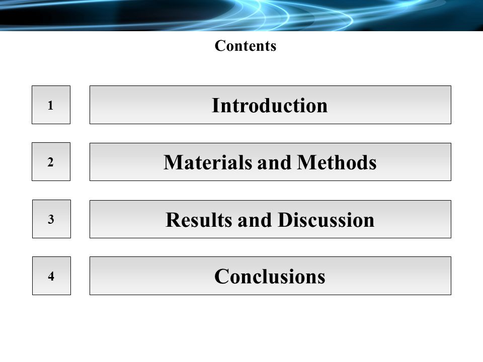 Contents 1 Introduction 2 3 4 Materials and Methods Results and Discussion Conclusions