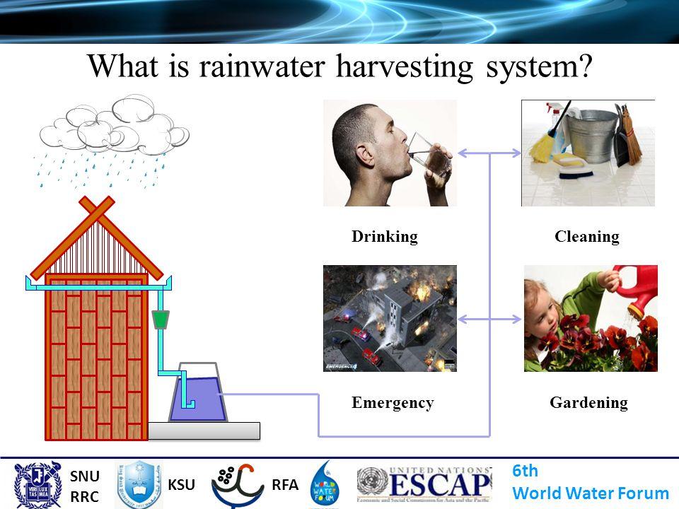 What is rainwater harvesting system? Gardening Cleaning Emergency Drinking 6th World Water Forum SNU RRC KSURFA