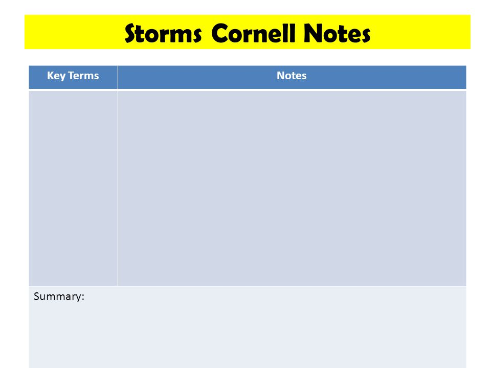 Storms Cornell Notes Key TermsNotes Summary: