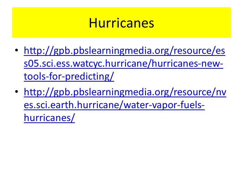 Hurricanes http://gpb.pbslearningmedia.org/resource/es s05.sci.ess.watcyc.hurricane/hurricanes-new- tools-for-predicting/ http://gpb.pbslearningmedia.