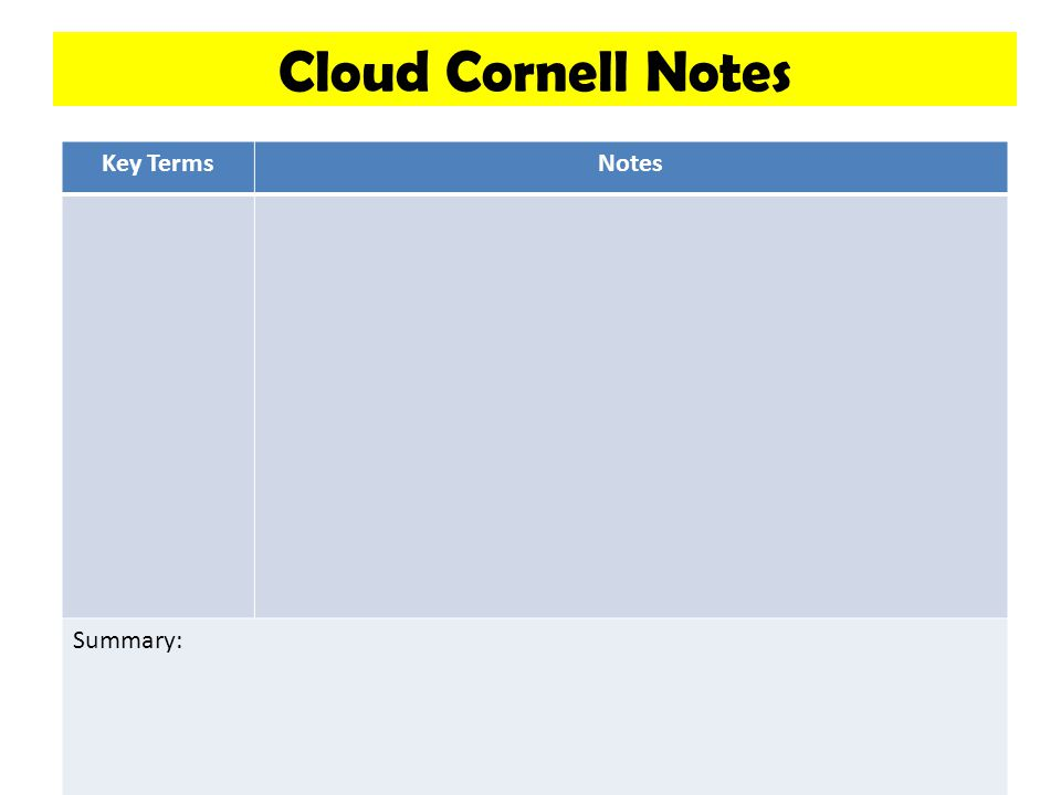 Cloud Cornell Notes Key TermsNotes Summary:
