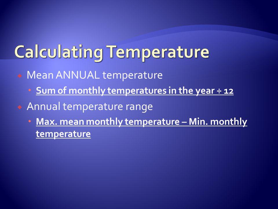 Mean ANNUAL temperature Sum of monthly temperatures in the year ÷ 12 Annual temperature range Max. mean monthly temperature – Min. monthly temperature