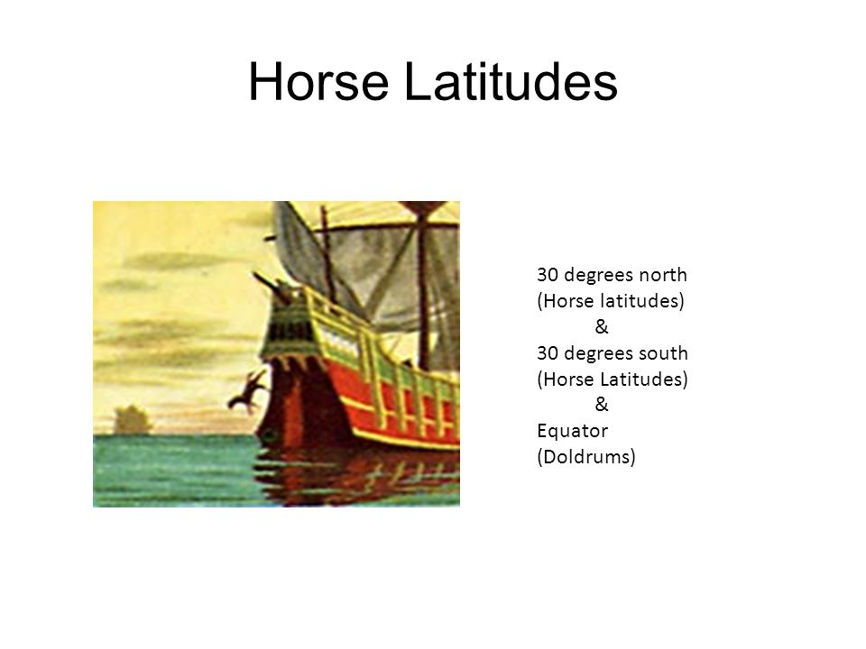 Horse Latitudes 30 degrees north (Horse latitudes) & 30 degrees south (Horse Latitudes) & Equator (Doldrums)