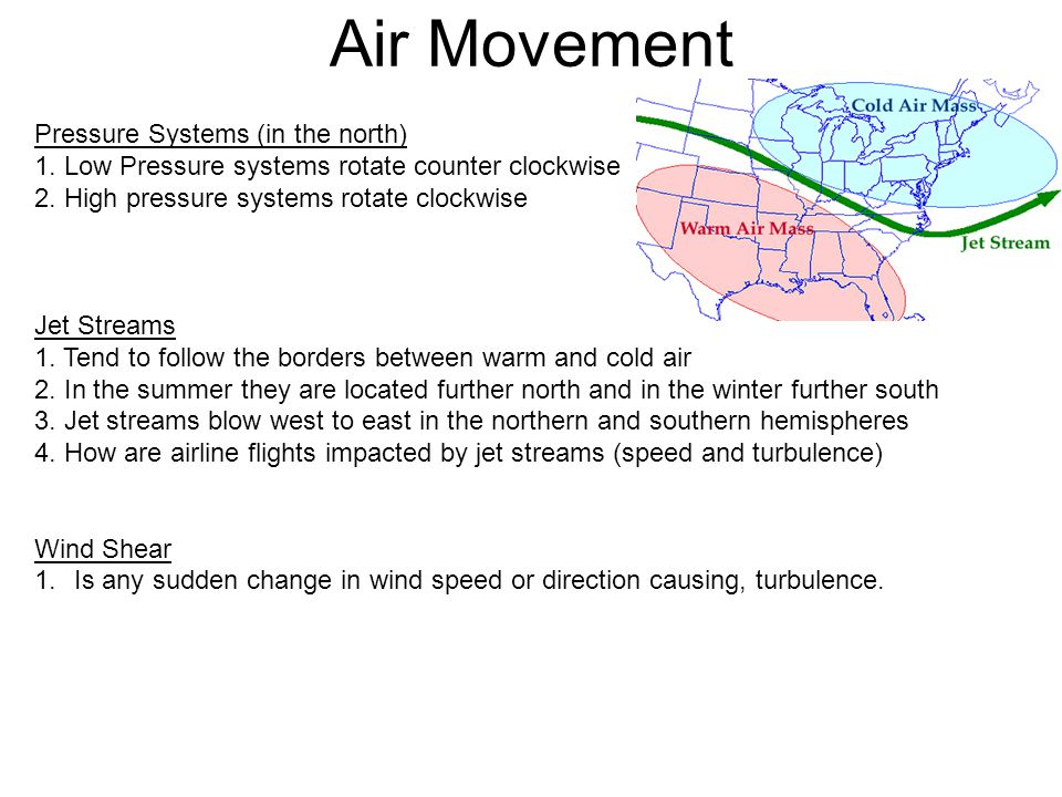 Pressure Systems (in the north) 1.Low Pressure systems rotate counter clockwise 2.