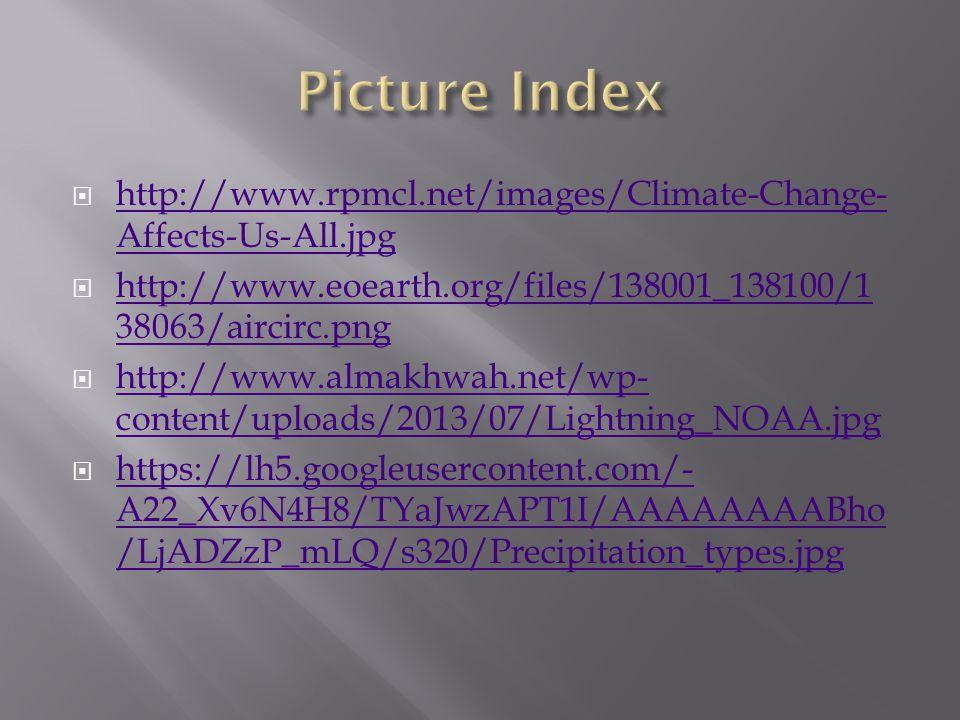 http://www.rpmcl.net/images/Climate-Change- Affects-Us-All.jpg http://www.rpmcl.net/images/Climate-Change- Affects-Us-All.jpg http://www.eoearth.org/files/138001_138100/1 38063/aircirc.png http://www.eoearth.org/files/138001_138100/1 38063/aircirc.png http://www.almakhwah.net/wp- content/uploads/2013/07/Lightning_NOAA.jpg http://www.almakhwah.net/wp- content/uploads/2013/07/Lightning_NOAA.jpg https://lh5.googleusercontent.com/- A22_Xv6N4H8/TYaJwzAPT1I/AAAAAAAABho /LjADZzP_mLQ/s320/Precipitation_types.jpg https://lh5.googleusercontent.com/- A22_Xv6N4H8/TYaJwzAPT1I/AAAAAAAABho /LjADZzP_mLQ/s320/Precipitation_types.jpg