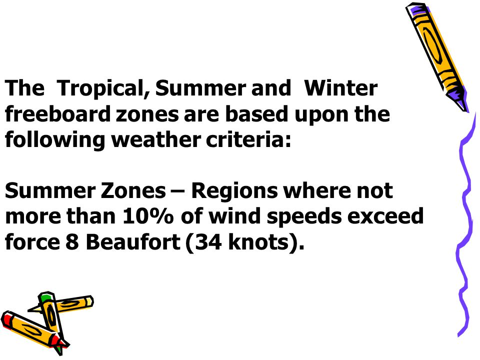 The Tropical, Summer and Winter freeboard zones are based upon the following weather criteria: Summer Zones – Regions where not more than 10% of wind