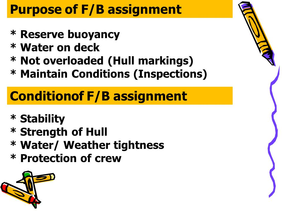 * Reserve buoyancy * Water on deck * Not overloaded (Hull markings) * Maintain Conditions (Inspections) Purpose of F/B assignment Conditionof F/B assi