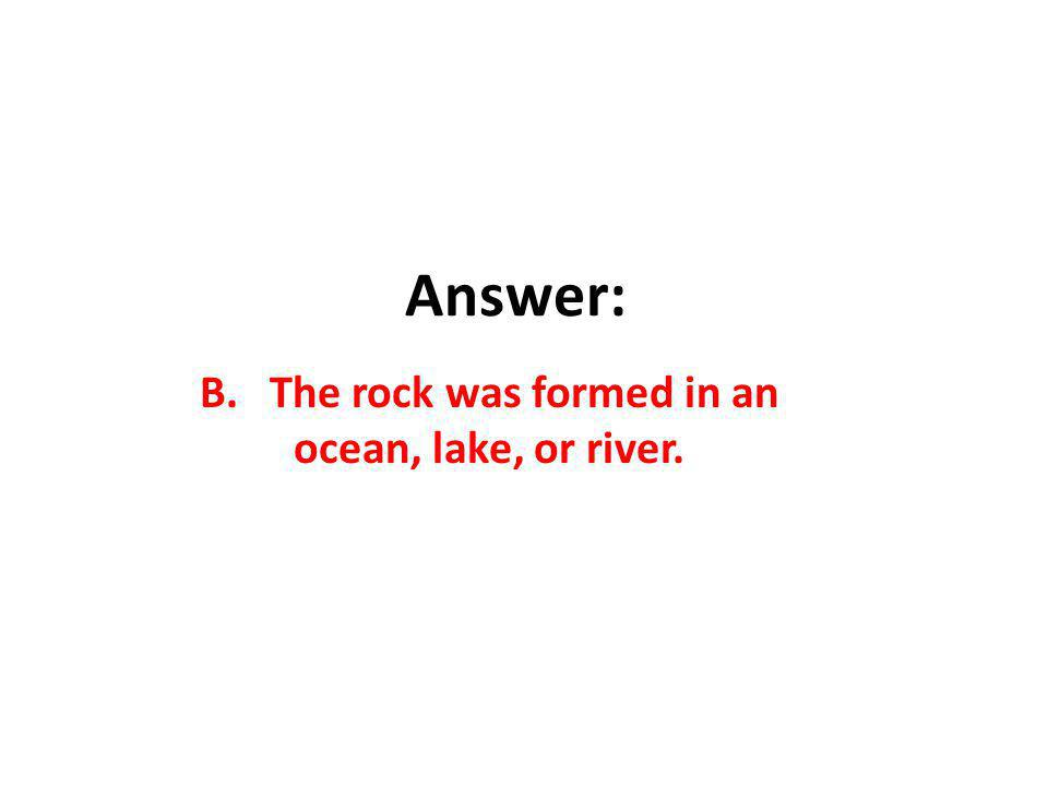 Answer: B. The rock was formed in an ocean, lake, or river.