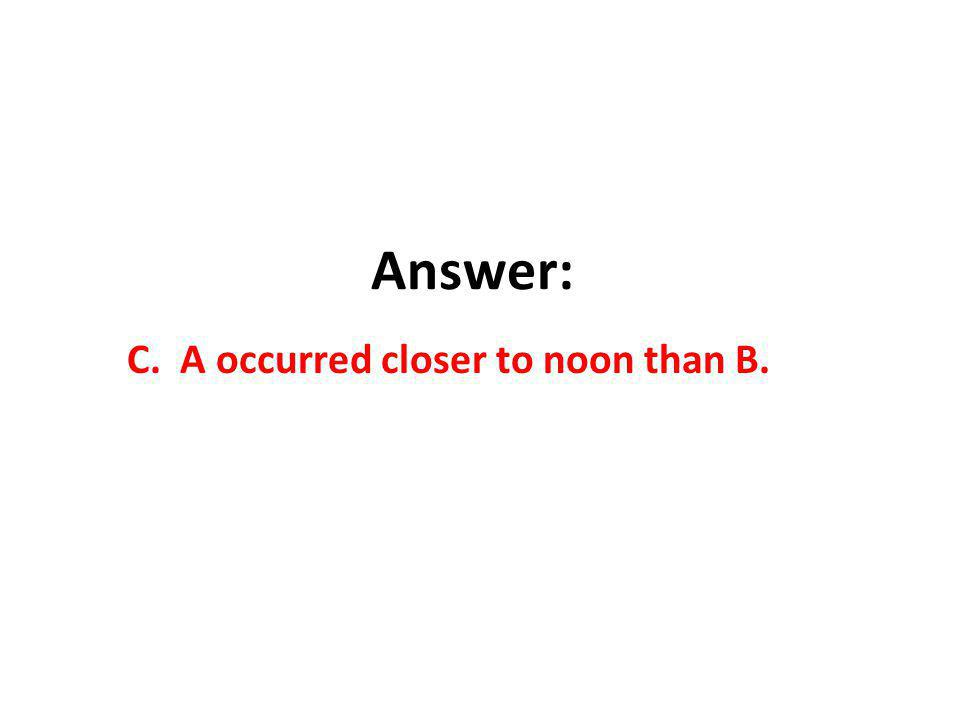Answer: C. A occurred closer to noon than B.
