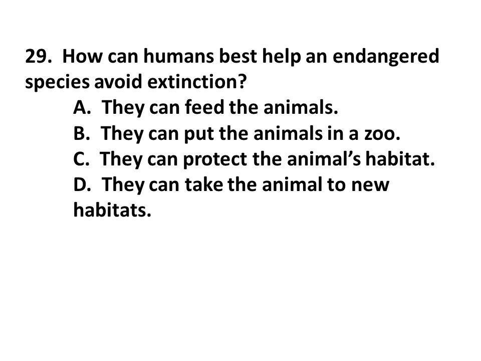 29. How can humans best help an endangered species avoid extinction? A. They can feed the animals. B. They can put the animals in a zoo. C. They can p