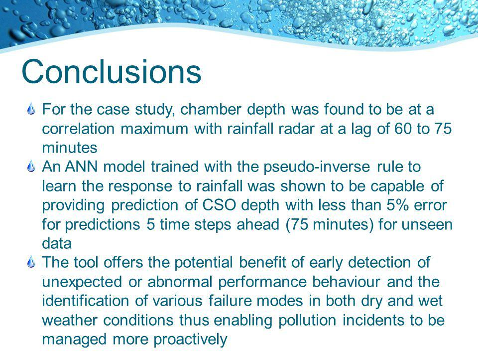 Conclusions For the case study, chamber depth was found to be at a correlation maximum with rainfall radar at a lag of 60 to 75 minutes An ANN model t