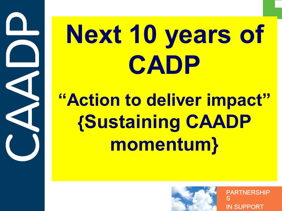 PARTNERSHIP S IN SUPPORT OF CAADP Next 10 years of CADP Action to deliver impact { Sustaining CAADP momentum}