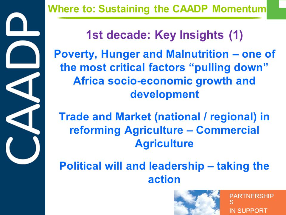 PARTNERSHIP S IN SUPPORT OF CAADP Poverty, Hunger and Malnutrition – one of the most critical factors pulling down Africa socio-economic growth and de