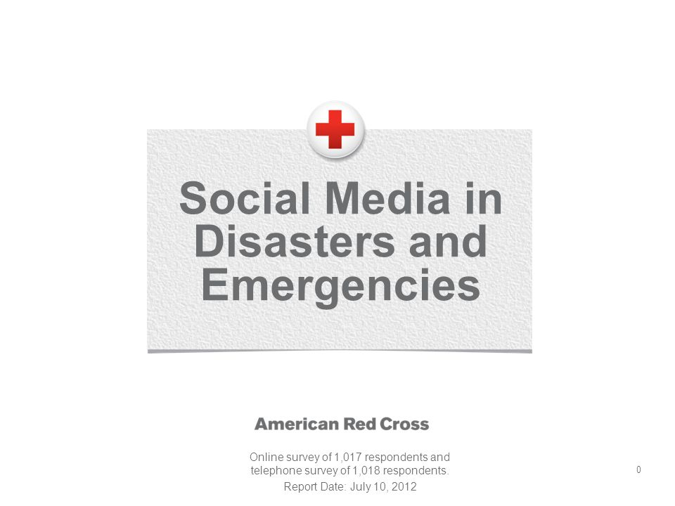 0 Social Media in Disasters and Emergencies Online survey of 1,017 respondents and telephone survey of 1,018 respondents.