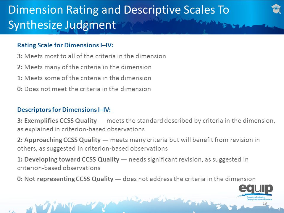 19 Dimension Rating and Descriptive Scales To Synthesize Judgment Rating Scale for Dimensions I–IV: 3: Meets most to all of the criteria in the dimens