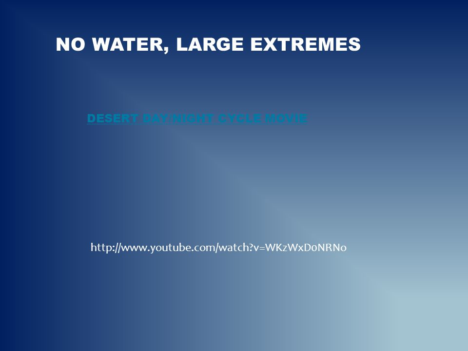 NO WATER, LARGE EXTREMES DESERT DAY/NIGHT CYCLE MOVIEDESERT DAY/NIGHT CYCLE MOVIE http://www.youtube.com/watch?v=WKzWxD0NRNo