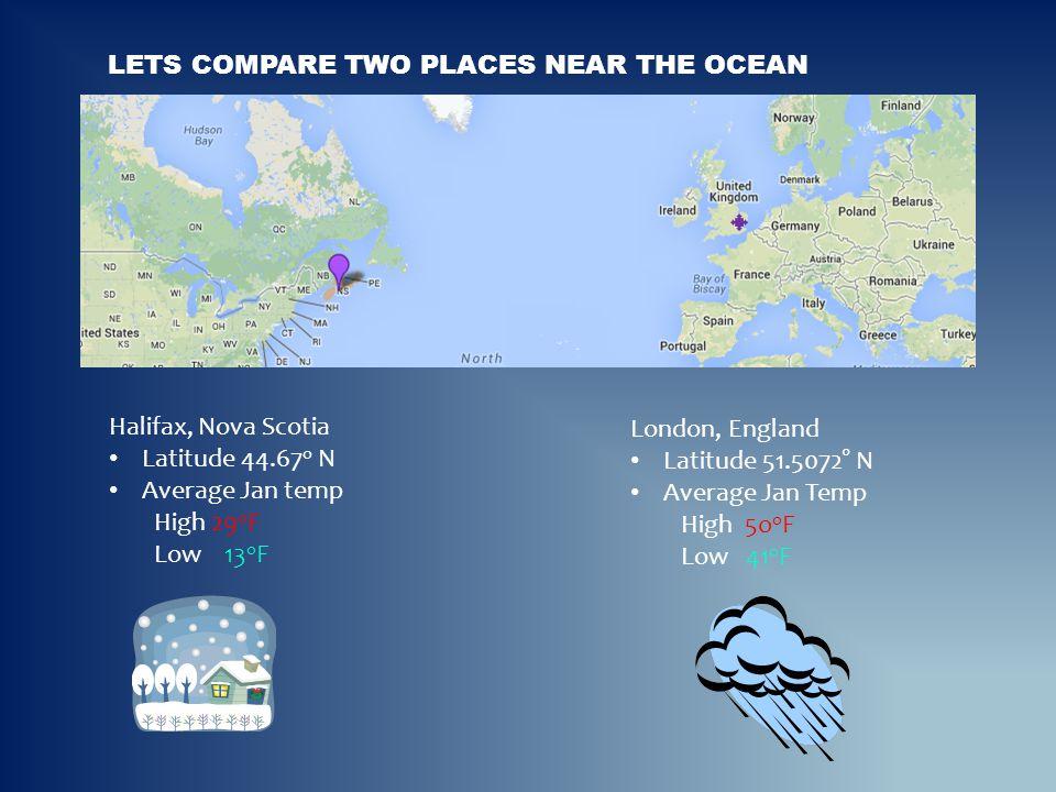 LETS COMPARE TWO PLACES NEAR THE OCEAN Halifax, Nova Scotia Latitude 44.67 o N Average Jan temp High 29 o F Low 13 o F London, England Latitude 51.507