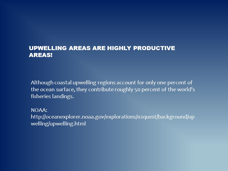 UPWELLING AREAS ARE HIGHLY PRODUCTIVE AREAS! Although coastal upwelling regions account for only one percent of the ocean surface, they contribute rou