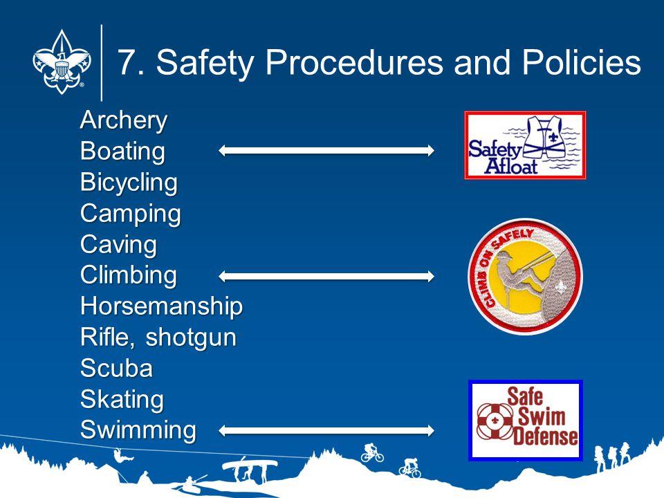 ArcheryBoatingBicyclingCampingCavingClimbingHorsemanship Rifle, shotgun ScubaSkatingSwimming 7. Safety Procedures and Policies