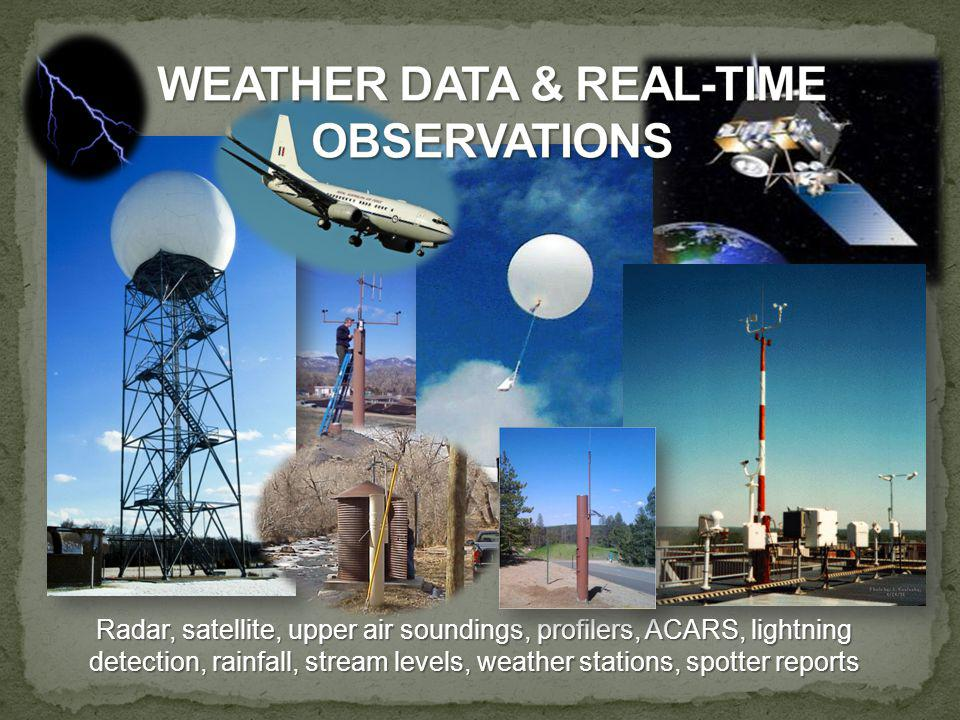 Radar, satellite, upper air soundings, profilers, ACARS, lightning detection, rainfall, stream levels, weather stations, spotter reports