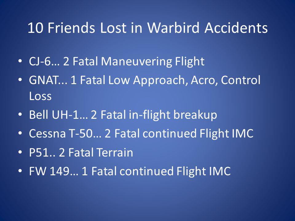 10 Friends Lost in Warbird Accidents CJ-6… 2 Fatal Maneuvering Flight GNAT...