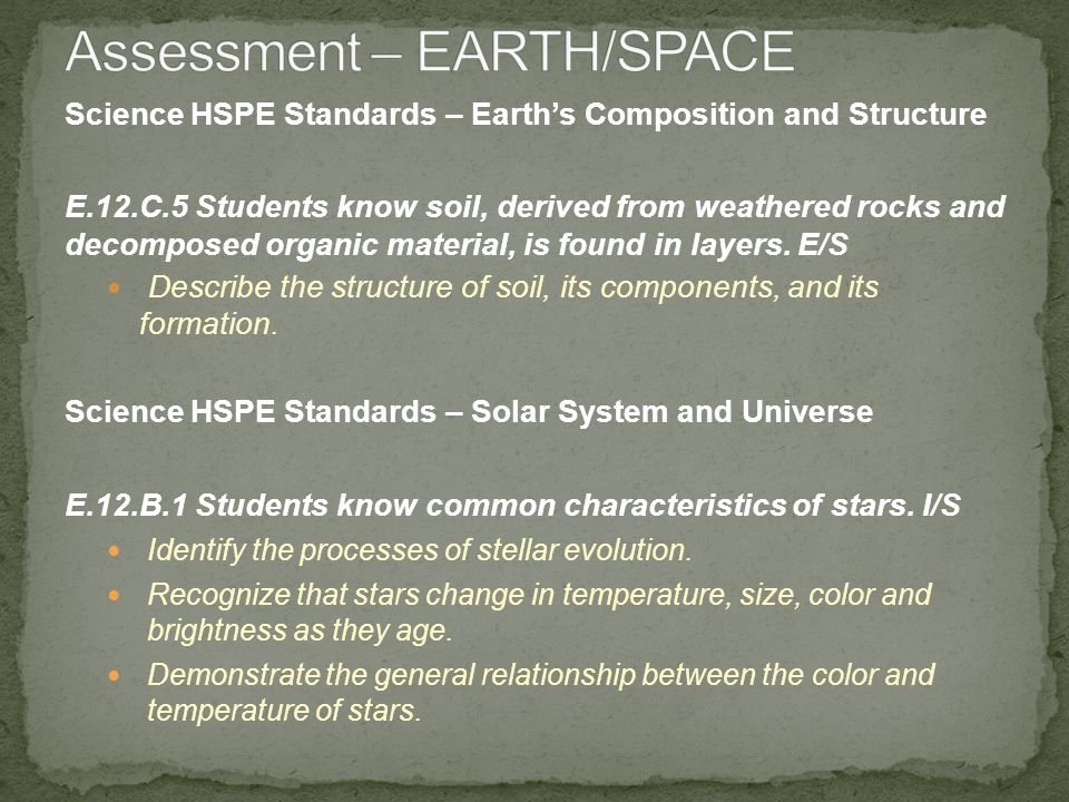 Science HSPE Standards – Earths Composition and Structure E.12.C.5 Students know soil, derived from weathered rocks and decomposed organic material, is found in layers.