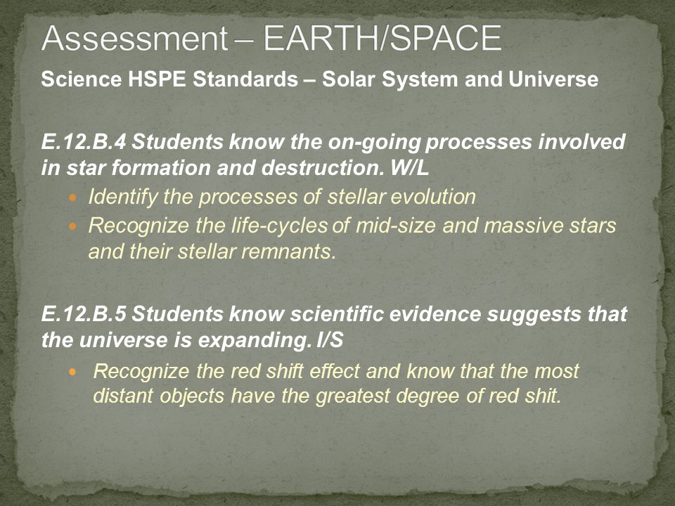 Science HSPE Standards – Solar System and Universe E.12.B.4 Students know the on-going processes involved in star formation and destruction.