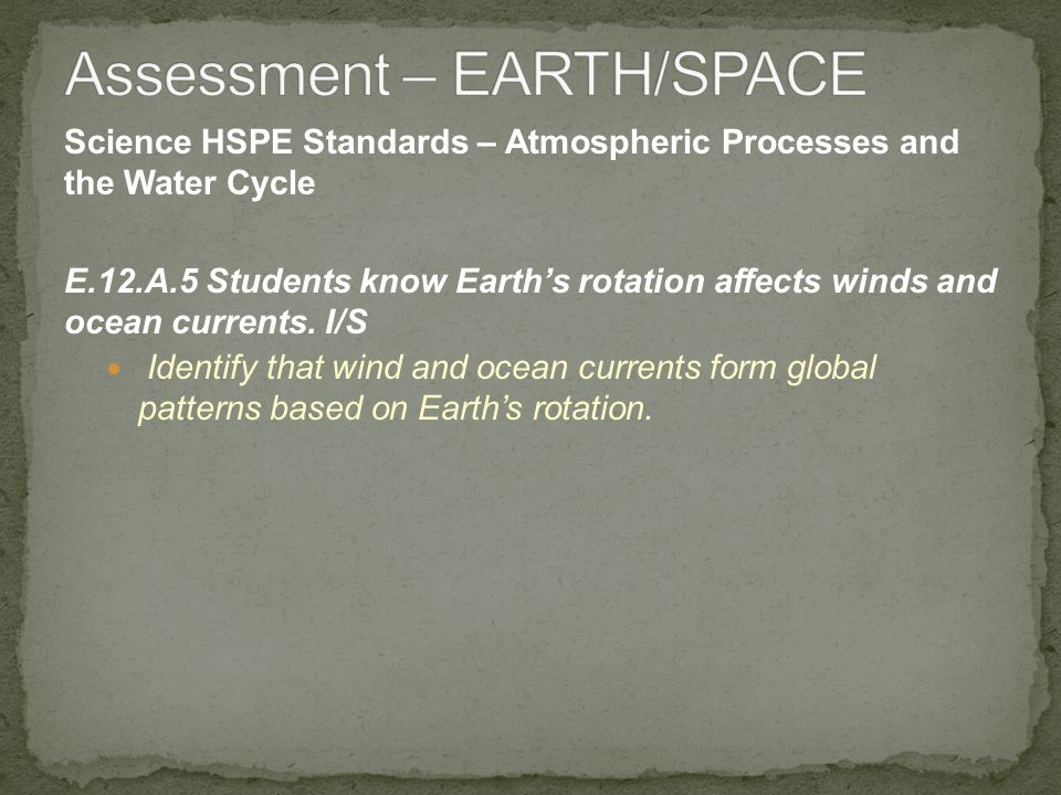 Science HSPE Standards – Atmospheric Processes and the Water Cycle E.12.A.5 Students know Earths rotation affects winds and ocean currents. I/S Identi