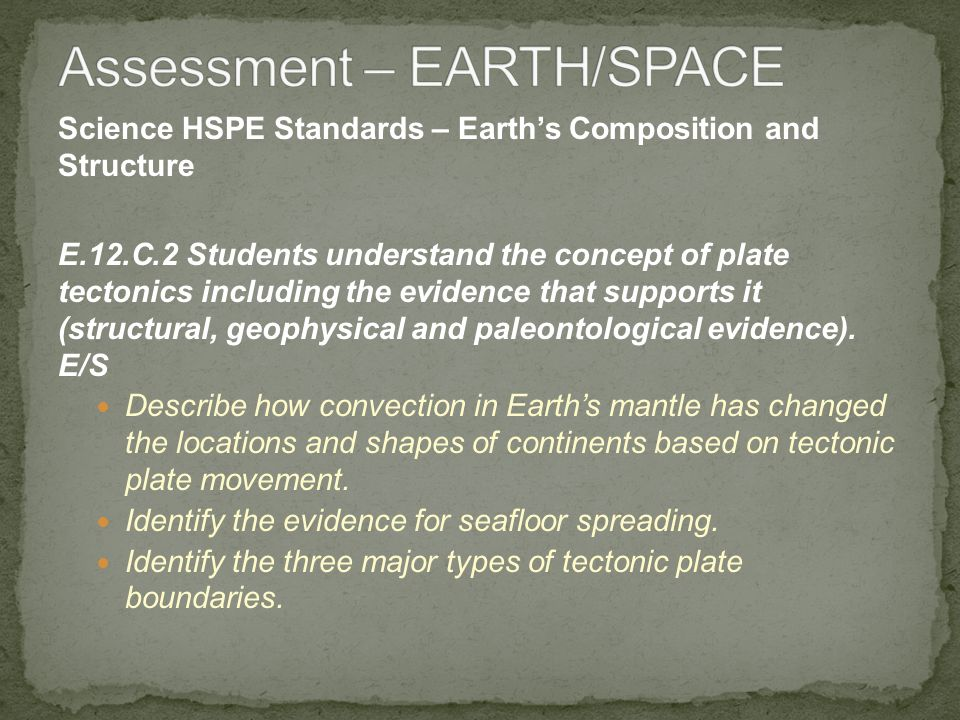 Science HSPE Standards – Earths Composition and Structure E.12.C.2 Students understand the concept of plate tectonics including the evidence that supp