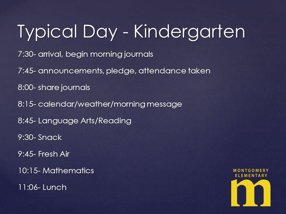 7:30- arrival, begin morning journals 7:45- announcements, pledge, attendance taken 8:00- share journals 8:15- calendar/weather/morning message 8:45- Language Arts/Reading 9:30- Snack 9:45- Fresh Air 10:15- Mathematics 11:06- Lunch Typical Day - Kindergarten