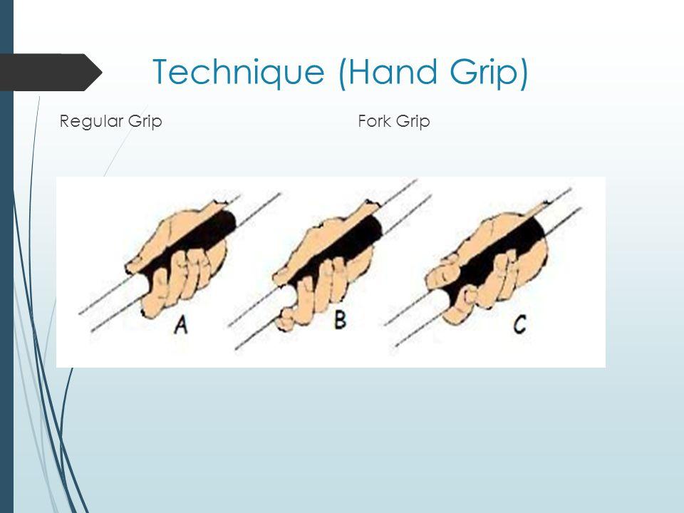 Technique (Hand Grip) Regular Grip Fork Grip