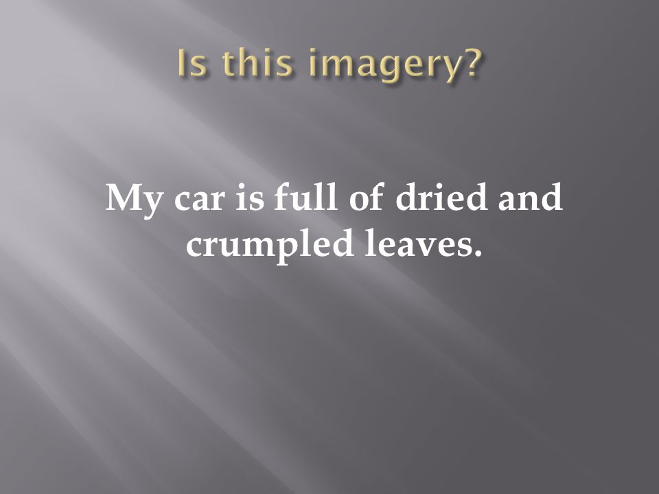 My car is full of dried and crumpled leaves.