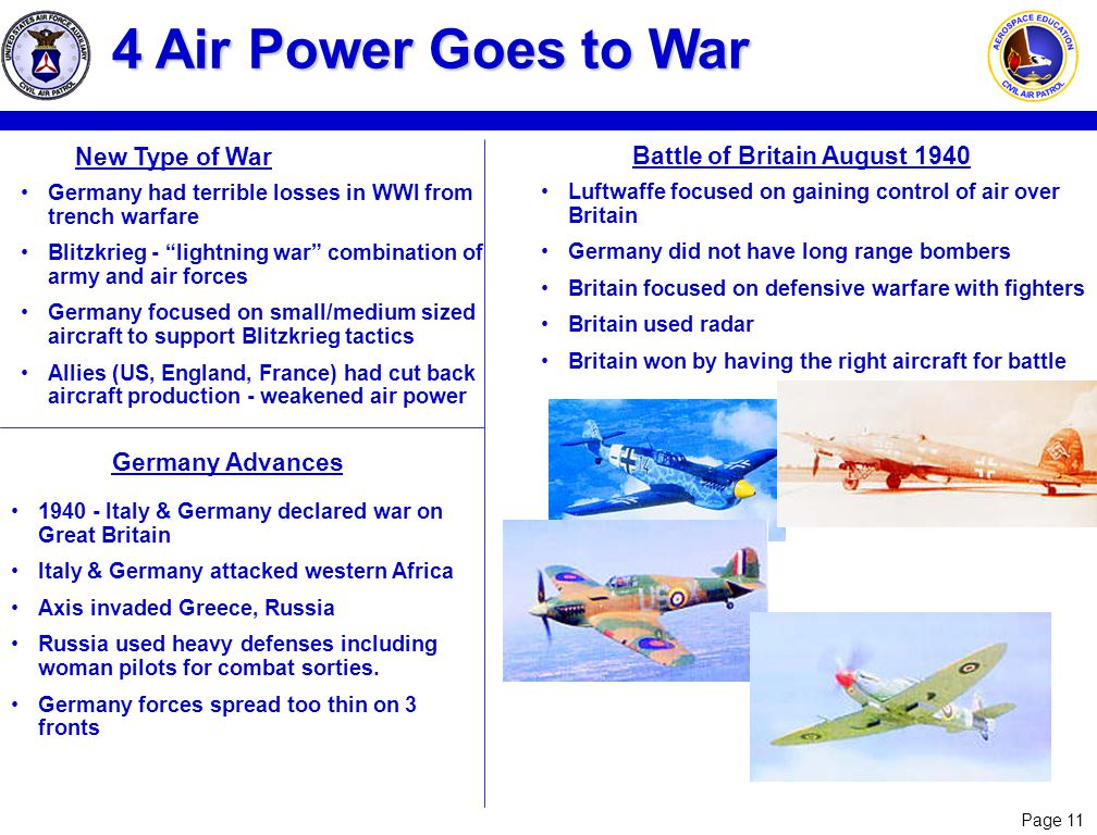 Page 11 4 Air Power Goes to War Germany had terrible losses in WWI from trench warfare Blitzkrieg - lightning war combination of army and air forces G