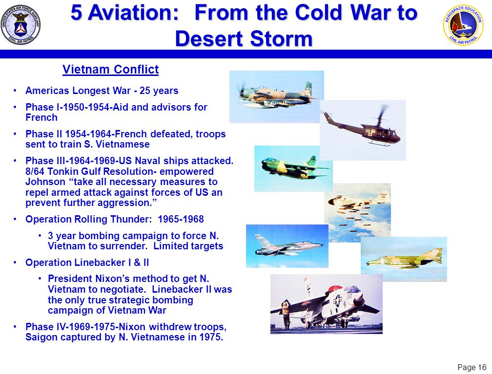 Page 16 5 Aviation: From the Cold War to Desert Storm Vietnam Conflict Americas Longest War - 25 years Phase I-1950-1954-Aid and advisors for French P