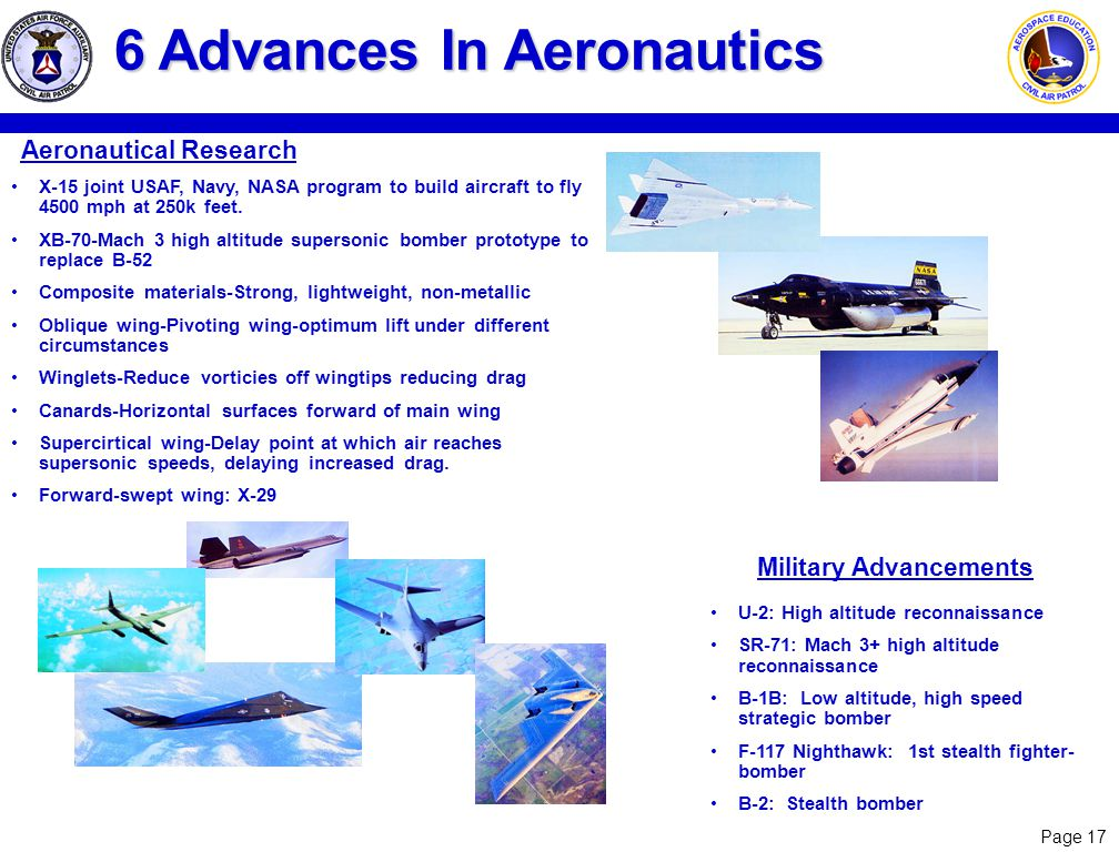 Page 17 6 Advances In Aeronautics Aeronautical Research X-15 joint USAF, Navy, NASA program to build aircraft to fly 4500 mph at 250k feet. XB-70-Mach