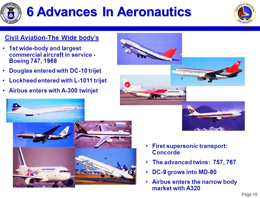 Page 19 Civil Aviation-The Wide bodys 6 Advances In Aeronautics 1st wide-body and largest commercial aircraft in service - Boeing 747, 1968 Douglas en