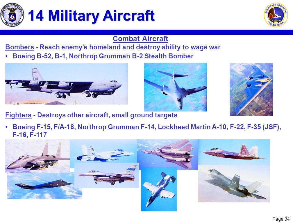 Page 34 14 Military Aircraft Bombers - Reach enemys homeland and destroy ability to wage war Boeing B-52, B-1, Northrop Grumman B-2 Stealth Bomber Fig