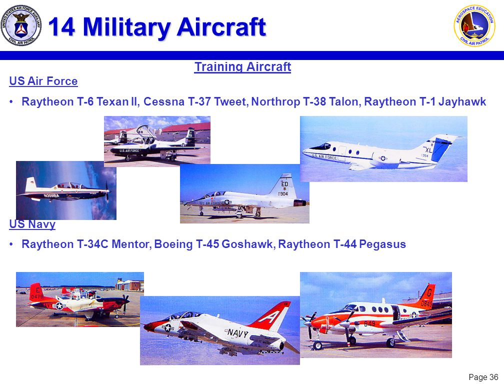 Page 36 14 Military Aircraft US Air Force Raytheon T-6 Texan II, Cessna T-37 Tweet, Northrop T-38 Talon, Raytheon T-1 Jayhawk US Navy Raytheon T-34C M
