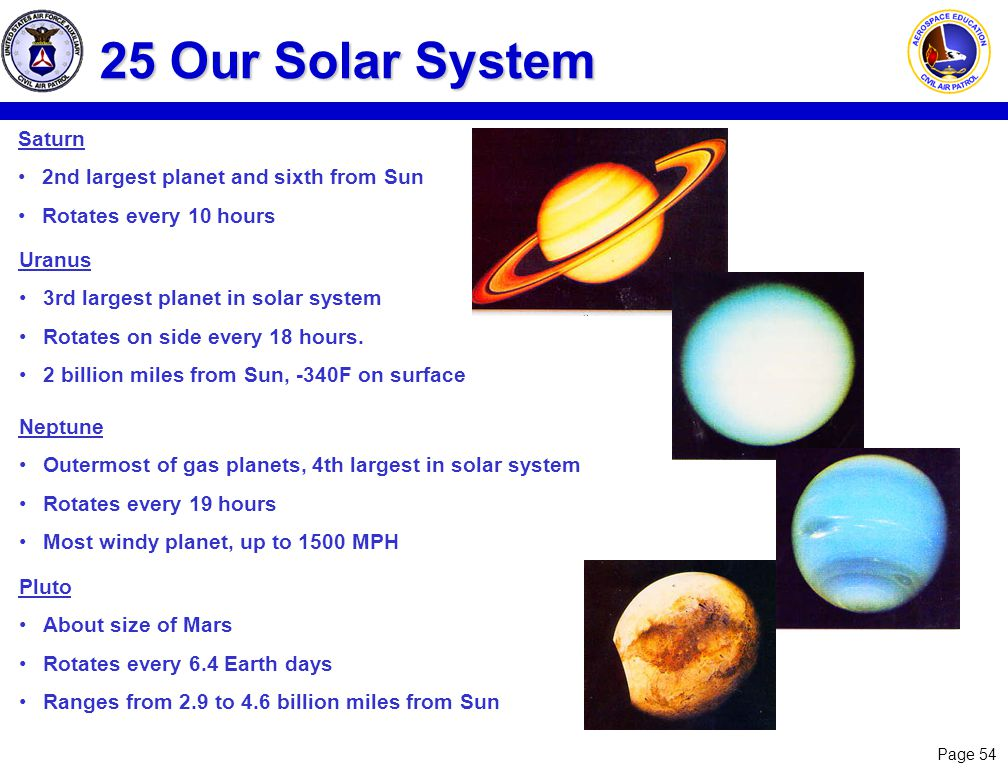 Page 54 25 Our Solar System Saturn 2nd largest planet and sixth from Sun Rotates every 10 hours Uranus 3rd largest planet in solar system Rotates on s