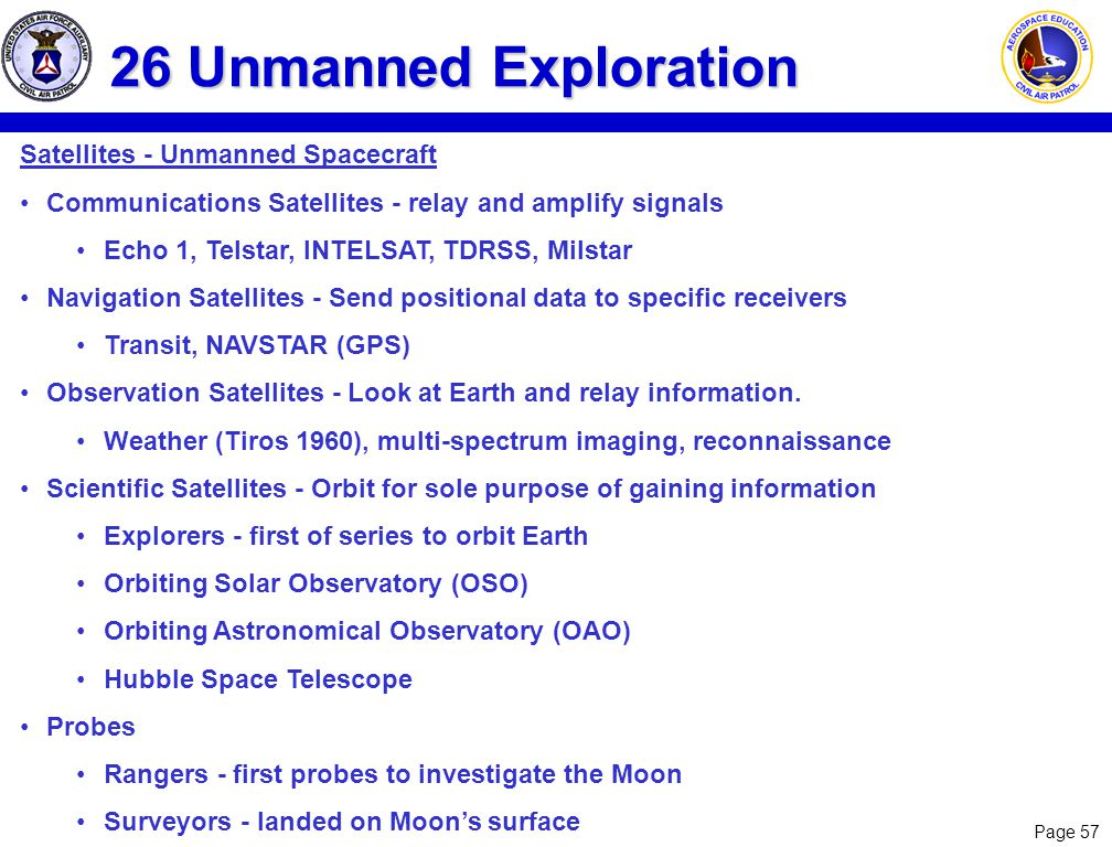 Page 57 26 Unmanned Exploration Satellites - Unmanned Spacecraft Communications Satellites - relay and amplify signals Echo 1, Telstar, INTELSAT, TDRS