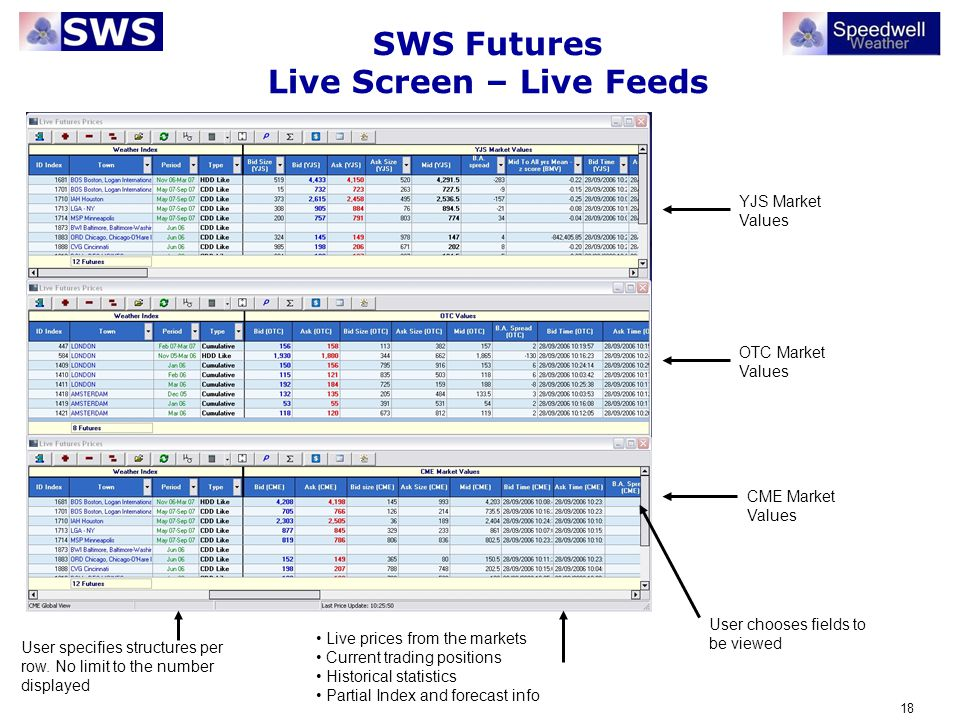 18 SWS Futures Live Screen – Live Feeds Live prices from the markets Current trading positions Historical statistics Partial Index and forecast info U