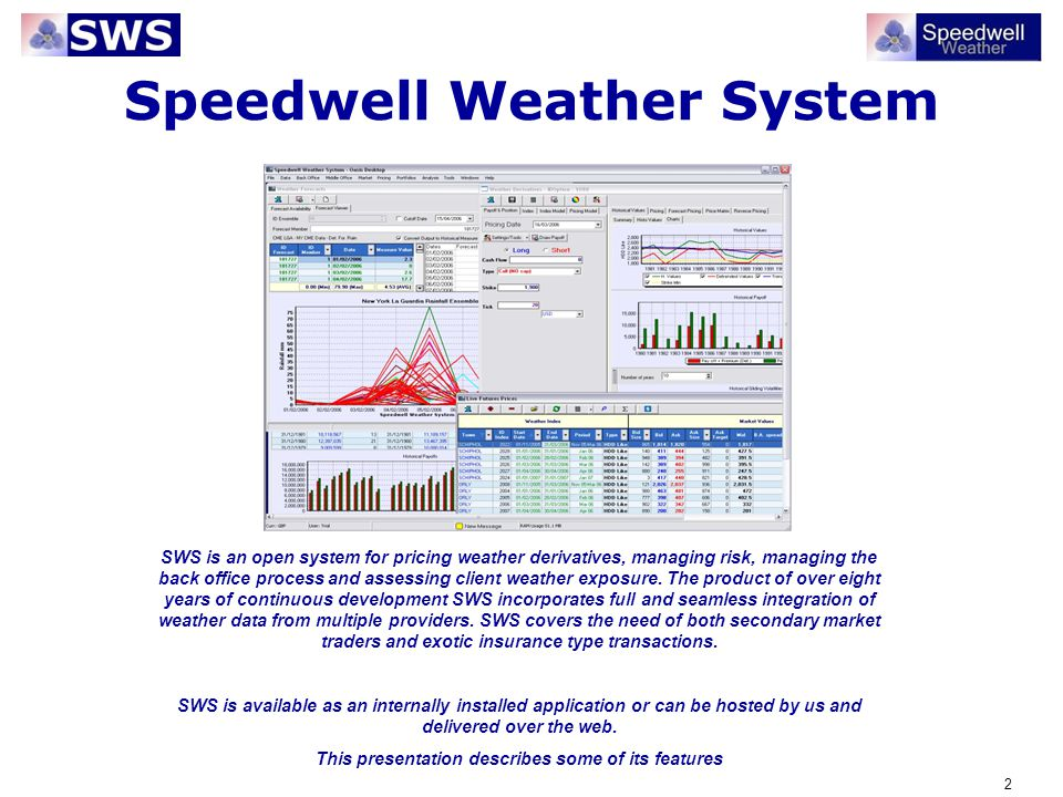 43 Weather Data Main Features SWS is open to multiple data providers Fully automated download to SWS database from numerous leading global data and forecast providers respecting different data types Easy import of deterministic and ensemble forecasts Full audit trail of weather data changes Full quality control testing and reporting functions for independent data integrity analysis
