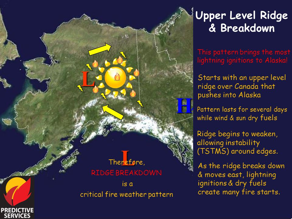 Upper Level Ridge & Breakdown L L This pattern brings the most lightning ignitions to Alaska! Starts with an upper level ridge over Canada that pushes