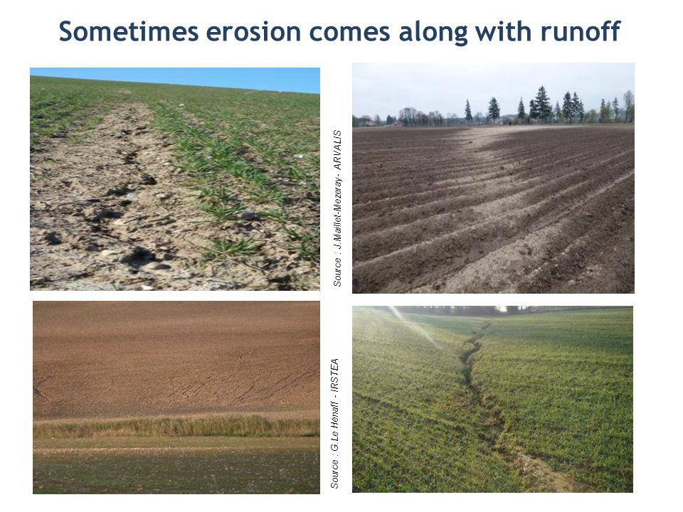 Sometimes erosion comes along with runoff Source : G.Le Hénaff - IRSTEA Source : J.Maillet-Mezeray- ARVALIS