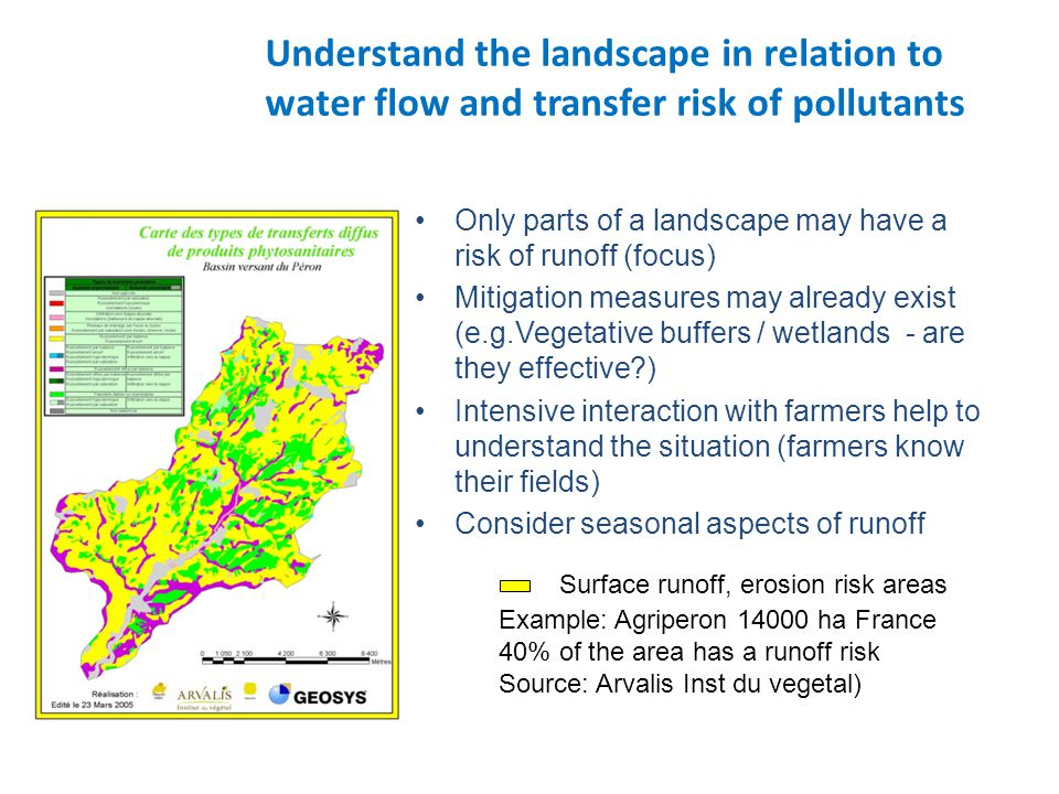 Understand the landscape in relation to water flow and transfer risk of pollutants Only parts of a landscape may have a risk of runoff (focus) Mitigation measures may already exist (e.g.Vegetative buffers / wetlands - are they effective?) Intensive interaction with farmers help to understand the situation (farmers know their fields) Consider seasonal aspects of runoff Surface runoff, erosion risk areas Example: Agriperon 14000 ha France 40% of the area has a runoff risk Source: Arvalis Inst du vegetal)