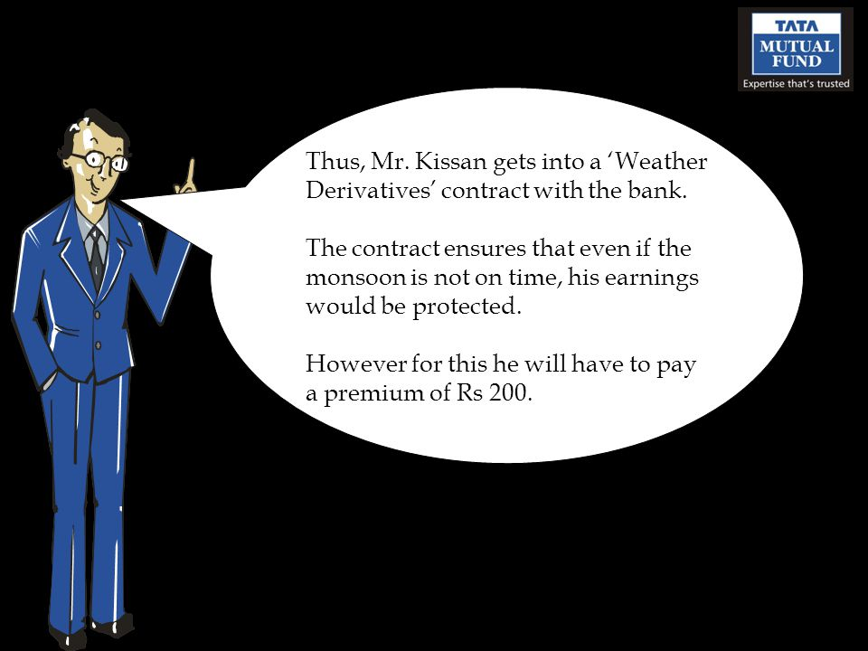 Thus, Mr. Kissan gets into a Weather Derivatives contract with the bank.