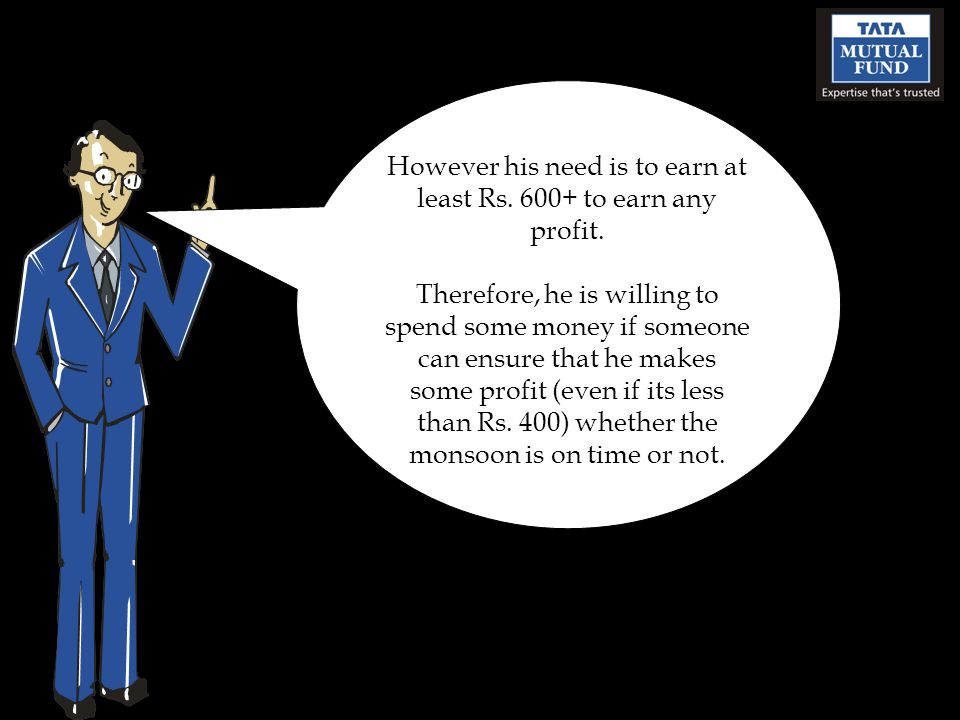 However his need is to earn at least Rs. 600+ to earn any profit.